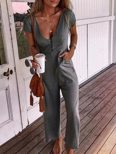 Long v-neck high waist pocket Fashion jumpsuits