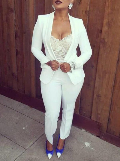 Fashion suit turn down collar cuffed sleeves blazer with pants
