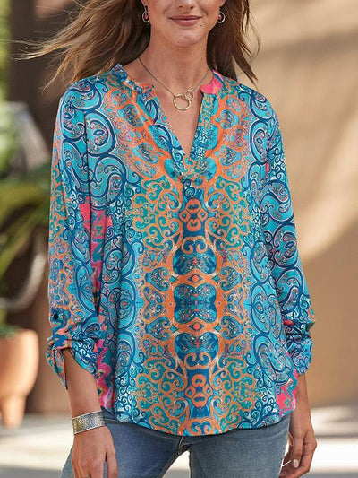 Women v neck printed long sleeve blouses
