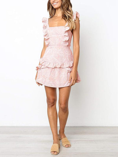 Sleeveless printed ruffled dress with lace