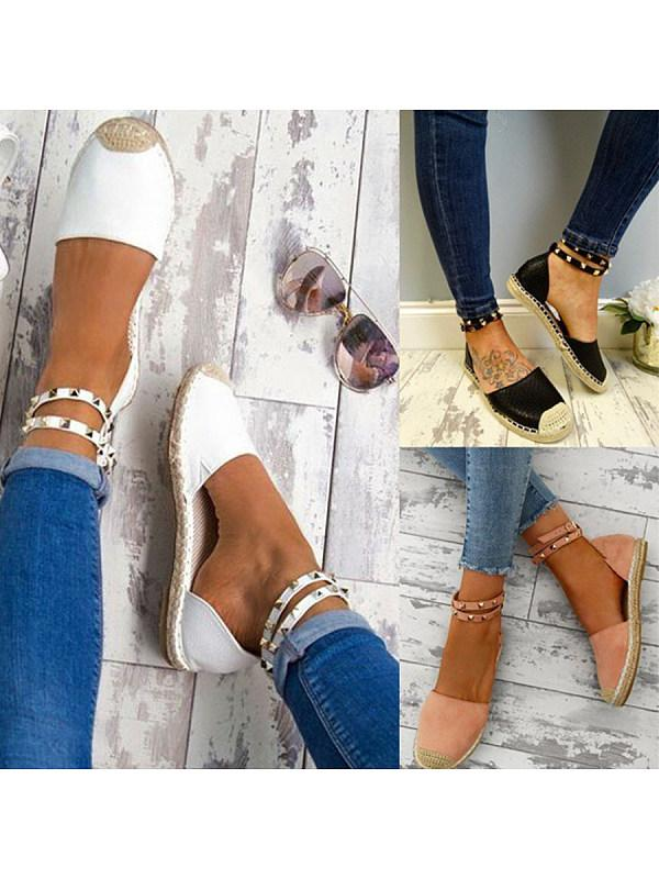 Plain Flat Ankle Strap Round Toe Casual