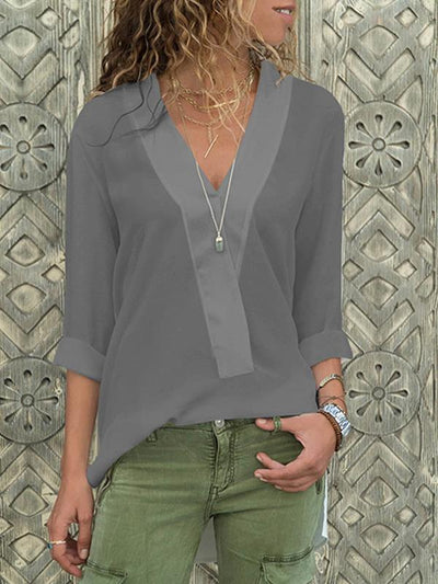 V-neck chiffon long sleeve Blouses