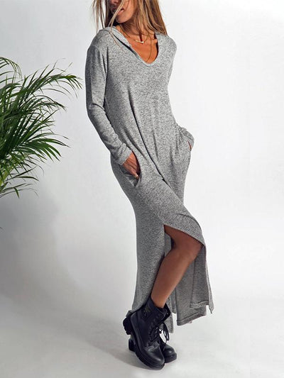 Fashion Knit Hooded Autumn Long Sleeve Maxi Dress