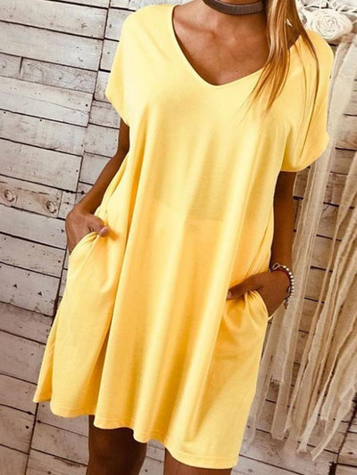 Short sleeved large size solid colour loose shift dresses