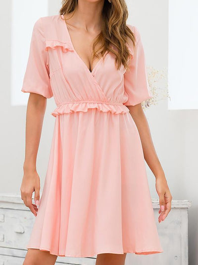 Slim sweet plain short sleeve v neck skater dresses