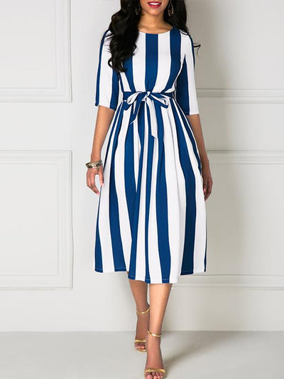 Belted Stripe Print Half Sleeve Skater Dress