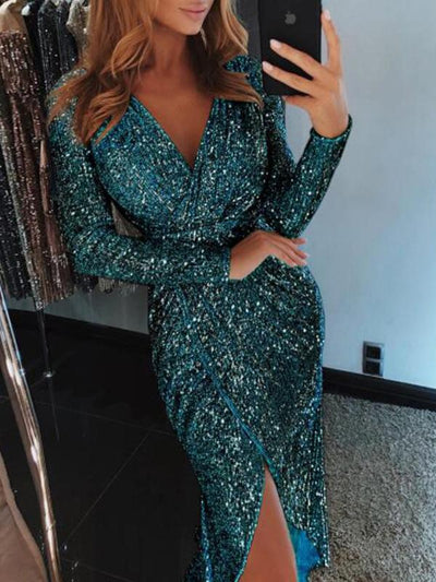 V Neck Sexy Long Sleeve Shine Woman Long Evening Dress