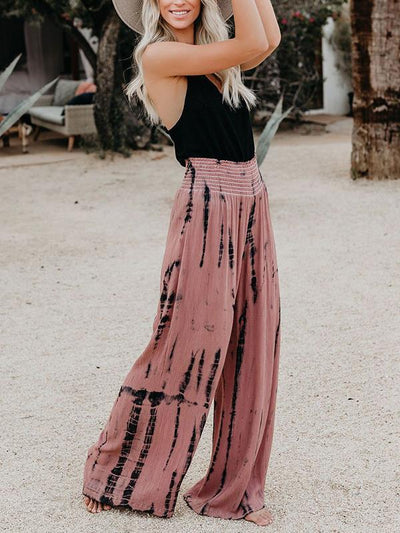High-waisted print wide-leg trousers Long Pants