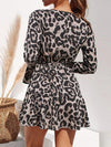 Spring and autumn sexy fashion V collar leopard printed flared sleeve skater dress