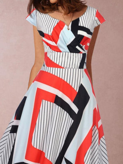 Elegant Short  sleeved printed long skater dresses