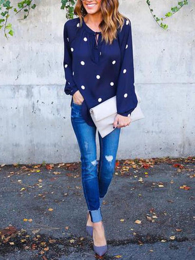 New Polka-dot Printed Deep V Neck Long Sleeve Casual Blouses