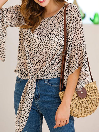 Women Thin Round Neck Chiffon Printed Blouses