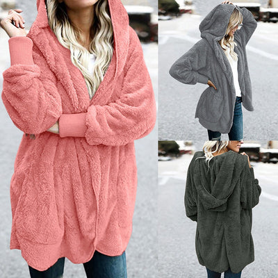 Hooded Polyester Plain Basic Outerwear Coats For Woman