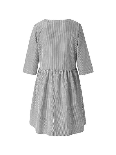 Round Neck Striped Pocket Loose Casual Dress