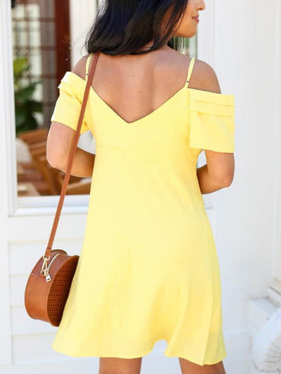 Women Off Shoulder Button Short Sleeve Shift Dresses