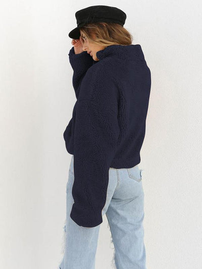 Thick High Neck Long Sleeve Fabric Surface Zipper Sweatshirts