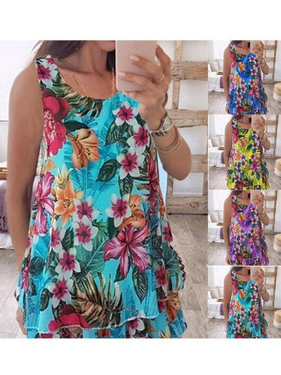 Double chiffon vest printed large size sleeveless T-shirts