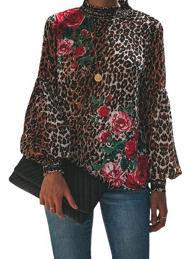 High Neck Long Sleeve Shirt Flower Printed Slim Blouses
