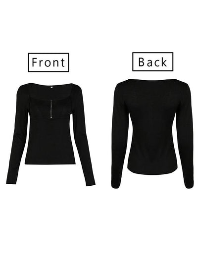 Square Neck Patchwork Zipper Plain Long Sleeve Woman T-Shirts