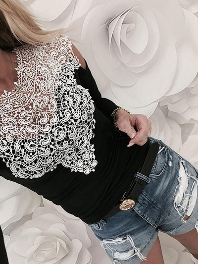 Round Neck Lace Long Sleeve Off Shoulder T-shirts