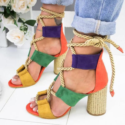 Chic women Match color thick heel high heel Pumps