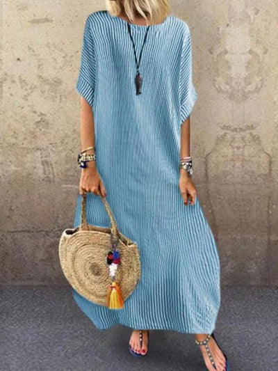 Round Neck Stripes  Holiday Casual Half Sleeve Maxi Dresses