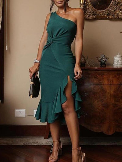 One off shoulder Plain Elegant Bodycon Dresses