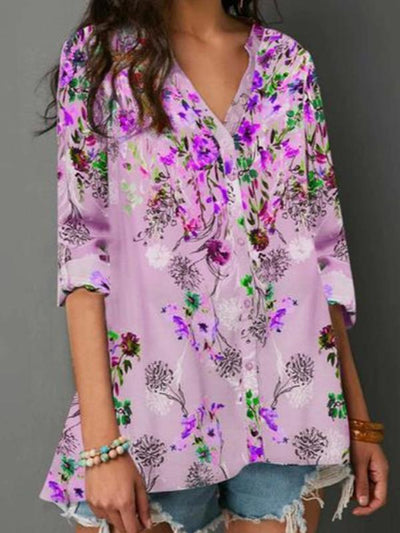 Floral Printed long sleeve v neck button blouses
