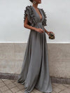 Chiffon Plunge Frill Trim Open Back Chic Women Evening Dress