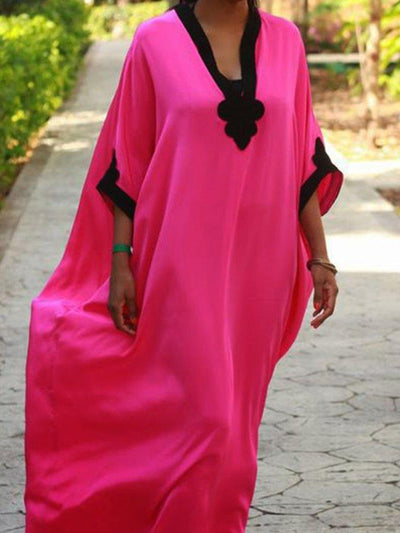 Deep Pink Holiday Plain Paneled V Neck Vacation Dresses