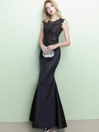 Sexy Lace Applique Sequined Sleeveless Vintage Mermaid Evening Dresses
