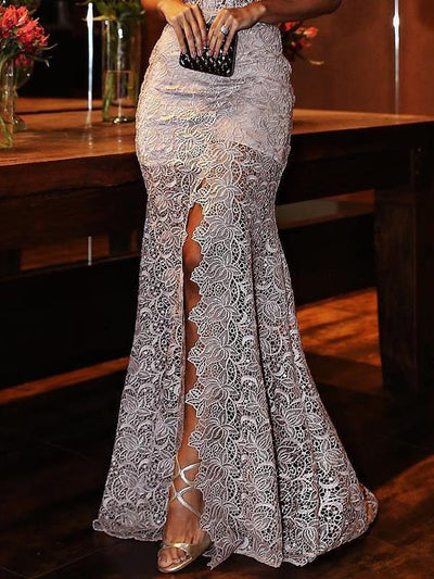 Deep V neck lace gown evening dresses