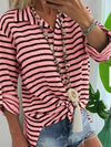 Turn down striped women loose summer Blouses