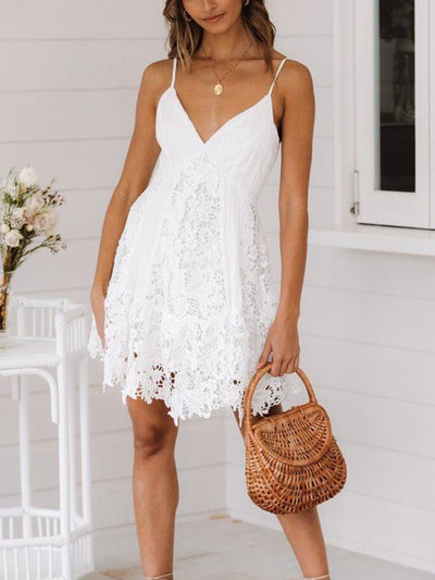 Sexy v-neck pure white lace patchwork skater dresses