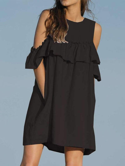 Round Neck Hollow Out Plain Casual Dresses