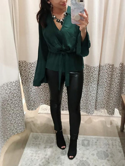Elegant Long Sleeve V-neck Tie Blouse