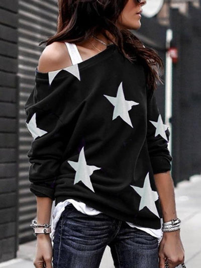New five-pointed star Printed round collar long sleeve T-shirts
