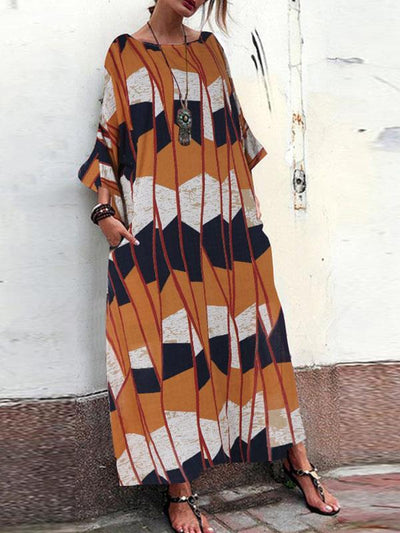 Loose Plus Size Three quanter sleeve women printed casaul maxi dresses