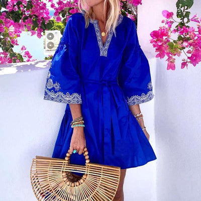 Casual Gored print V neck Three quarter sleeve Lacing Shift Dresses
