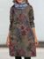 Casual Retro print Round neck Long sleeve Woolen Shift Dresses