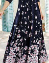 Fashion Retro Floral print Round neck Long sleeve Maxi Dresses