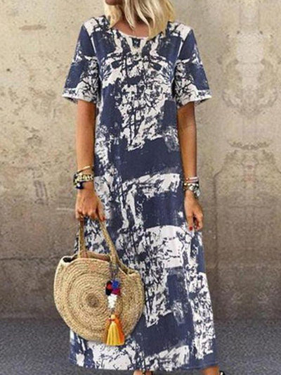 Bohemia style Printed round neck short sleeves maxi dresses