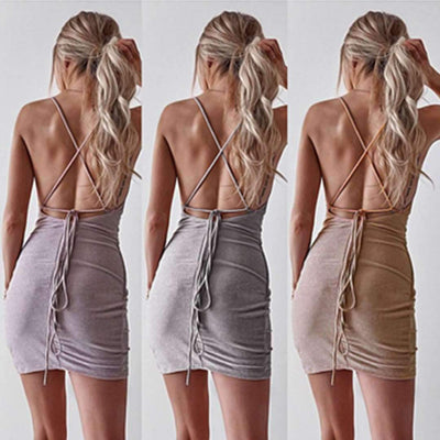 Sexy Stripe Women Backless Bodycon Dresses