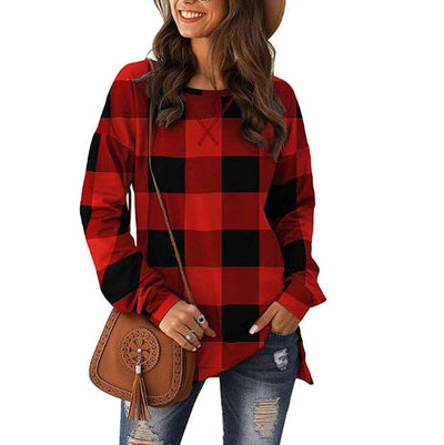 Casual Loose Plaid print Round neck Long sleeve T-Shirts