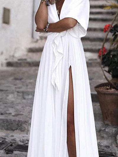 Sexy Women Long V neck Waist tie Slit Maxi Dresses