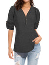 New Plain Long Sleeve V-neck Zipper T-shirts