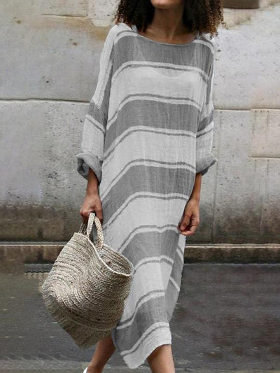 Casual Loose women Plus size round neck long sleeve stripe maxi dresses