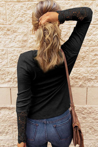 Fashion Pure Lace Gored Round neck Fastener Long sleeve T-Shirts
