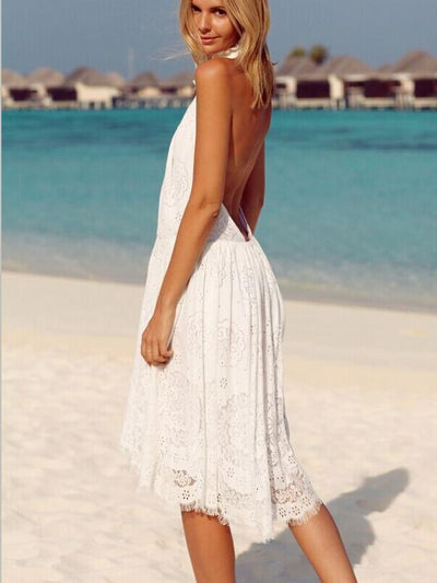 Pure Backless Lace Vacation Dresses
