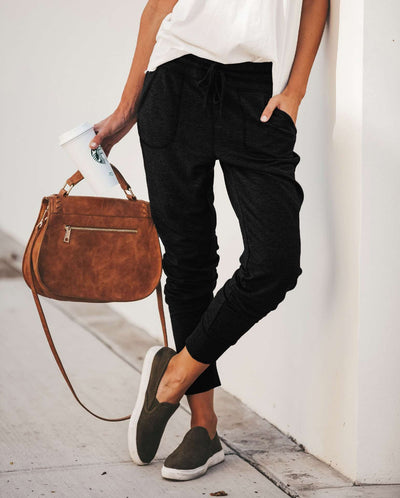 Women Casual Pure Lacing Pencil Pants